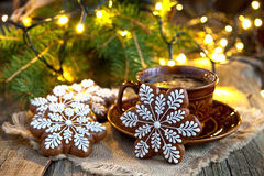 Christmas Gingerbread cookies with  hot drink Royalty Free Stock Photo