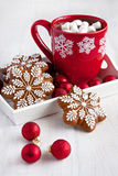 Christmas Gingerbread cookies and  hot drink  with  marshmallows Stock Photos