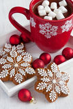 Christmas Gingerbread cookies and  hot drink  with  marshmallows Stock Images