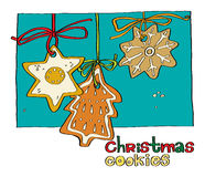 Christmas gingerbread cookies. Illustration of a Christmas gingerbread drawn by hand. template cards, invitations, greetings or menu Royalty Free Stock Photo