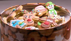 Christmas Gingerbread Cookies In The Open Box Stock Photos