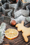 Christmas gingerbread cookies and ingredients. For cooking on the table Royalty Free Stock Photography