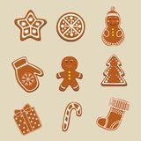 Christmas, gingerbread, cookies. Isolated elements. Christmas, gingerbread, cookies. Isolated elements, symbols of the new year in the form of ginger cookies Royalty Free Stock Photos