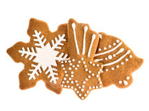 Christmas gingerbread cookies isolated on white background. Traditional holidays sweet food Royalty Free Stock Photos