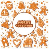 Christmas gingerbread cookies making a rectangular frame. Vector illustration.Happy winter holidays poster. New year royalty free illustration
