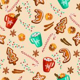 Christmas gingerbread, mulled wine, cocoa seamless pattern stock illustration