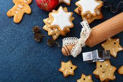 Christmas gingerbread cookies, new year balls and rolling pin Stock Photography