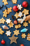 Christmas gingerbread cookies and new year balls Stock Image
