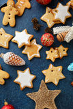 Christmas Gingerbread Cookies and New Year bauble Stock Image