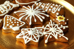 Christmas gingerbread cookies plate Royalty Free Stock Image