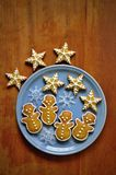 Christmas gingerbread cookies on the plate. Christmas gingerbread cookies on the blue plate - snowmen and snowflakes Stock Images