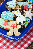 Christmas gingerbread cookies on a plate. On the table Royalty Free Stock Photography