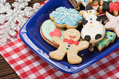 Christmas gingerbread cookies on a plate. On the table Royalty Free Stock Image