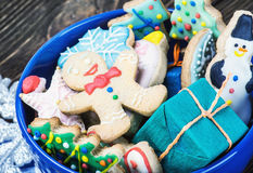 Christmas gingerbread cookies on a plate  the table Stock Photos