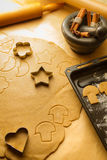 Christmas gingerbread cookies preparation royalty free stock photos