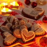 Christmas Gingerbread Cookies. Romantic Christmas time, Gingerbread cookies and lights Stock Image