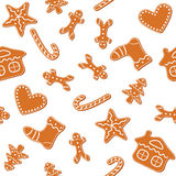 Christmas gingerbread cookies seamless. Christmas cookies seamless, gingerbread man, candy cane, star, heart, tree and house - vector vector illustration