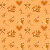 Christmas gingerbread cookies seamless. Christmas cookies seamless, gingerbread man and snowman, candy cane, bell, heart, tree and house - vector royalty free illustration