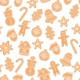 Christmas gingerbread cookies seamless vector pattern. Holiday hand drawn background with sugar coating biscuits. Winter sweets and candies white texture stock illustration