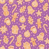Christmas gingerbread cookies seamless vector pattern. Holiday purple hand drawn background with sugar coating biscuits Royalty Free Stock Photo