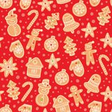 Christmas gingerbread cookies seamless vector pattern. Holiday red hand drawn background with sugar coating biscuits. Winter sweets and candies colorful royalty free illustration