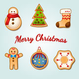 Christmas Gingerbread Cookies Set of 6 Royalty Free Stock Photo