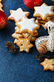 Christmas Gingerbread Cookies in the shape of star Royalty Free Stock Photography