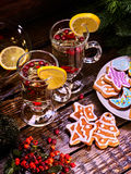 Christmas gingerbread cookies shape of stars and tea mugs . Royalty Free Stock Images
