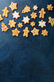 Christmas Gingerbread Cookies on a slate background Stock Photo