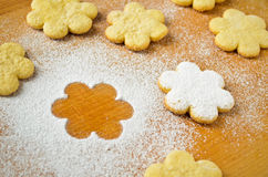 Christmas gingerbread cookies, sprinkled with powdered sugar Stock Photos