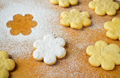 Christmas gingerbread cookies, sprinkled with powdered sugar Royalty Free Stock Photo