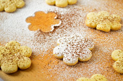 Christmas gingerbread cookies, sprinkled with powdered sugar Royalty Free Stock Photography