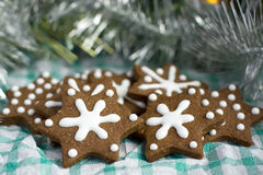 Christmas gingerbread cookies in a star shape Royalty Free Stock Image