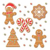 Christmas Gingerbread cookies stickers set. Christmas Gingerbread cookie sticker set. Traditional colorful cookies with Snow flake, Christmas Tree, candy cane Royalty Free Stock Image
