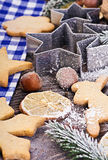 Christmas gingerbread cookies. On the table Royalty Free Stock Images