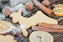 Christmas gingerbread cookies. On the table Stock Photography