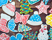 Christmas gingerbread cookies on the table Stock Photography