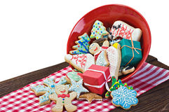 Christmas gingerbread cookies on the table. Isolated on white background Royalty Free Stock Photography