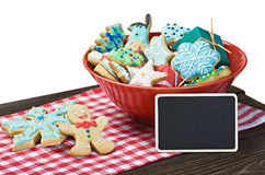 Christmas gingerbread cookies on the table isolated on white. Background Royalty Free Stock Photography