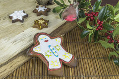Christmas gingerbread cookies. Traditional Christmas gingerbread man and star shaped cookies Royalty Free Stock Images
