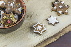 Christmas gingerbread cookies. Traditional star shaped Christmas gingerbread cookies Stock Image