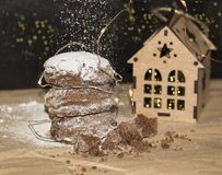Christmas Gingerbread Cookies, traditional Winter Holidays food stock image