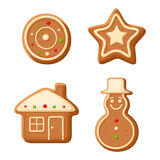 Christmas gingerbread cookies. Vector illustration. Stock Photo
