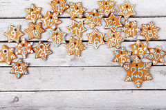 Christmas gingerbread cookies on white table Royalty Free Stock Photo