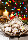 Christmas gingerbread cookies in wicker basket Royalty Free Stock Image