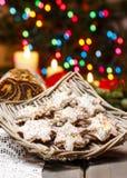 Christmas gingerbread cookies in wicker basket Royalty Free Stock Image