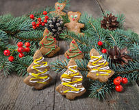 Christmas gingerbread cookies on wooden background Stock Photos