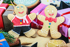 Christmas gingerbread cookies. On the wooden table Stock Image