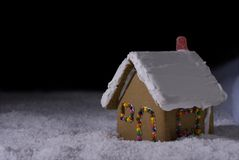 Christmas Gingerbread cottage at night Royalty Free Stock Photo