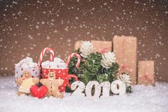 Christmas gingerbread couple cookies and hot chocolate with mars. Hmallows and candy. Merry Christmas and Happy New Year 2019 stock image